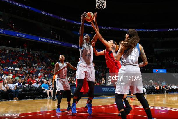 Sylvia Fowles of the Minnesota Lynx gets the rebound against Tianna Hawkins of the Washington Mystics in Game Three of the Semifinals during the 2017...