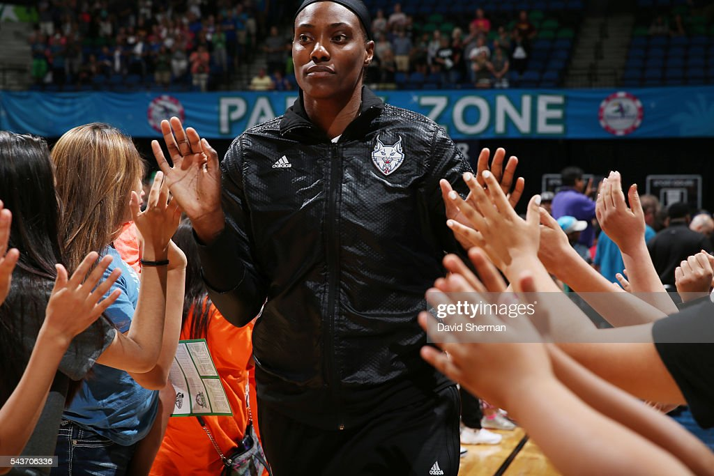<a gi-track='captionPersonalityLinkClicked' href=/galleries/search?phrase=Sylvia+Fowles+-+Basketball+Player&family=editorial&specificpeople=707903 ng-click='$event.stopPropagation()'>Sylvia Fowles</a> #34 of the Minnesota Lynx is introduced before the game against the New York Liberty on June 29, 2016 at Target Center in Minneapolis, Minnesota.