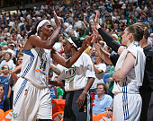 Sylvia Fowles of the Minnesota Lynx shakes hands with the bench after Game One of the WNBA Western Conference Finals against the Phoenix Mercury on...