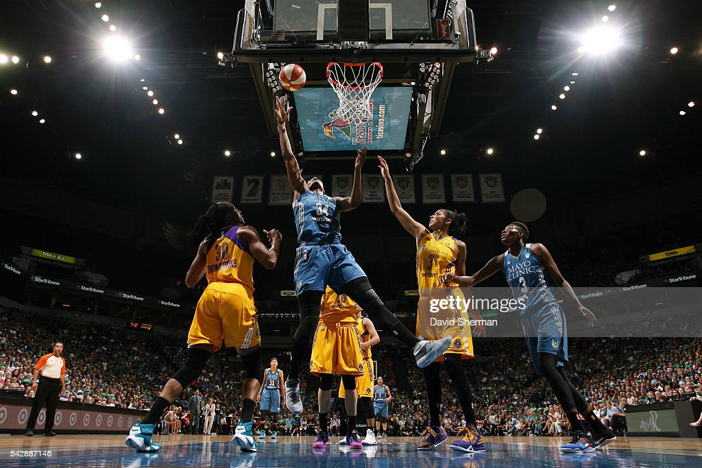 <a gi-track='captionPersonalityLinkClicked' href=/galleries/search?phrase=Sylvia+Fowles+-+Basketball+Player&family=editorial&specificpeople=707903 ng-click='$event.stopPropagation()'>Sylvia Fowles</a> #34 of the Minnesota Lynx shoots a lay up during the game against the Los Angeles Sparks during the WNBA game on June 24, 2016 at Target Center in Minneapolis, Minnesota.
