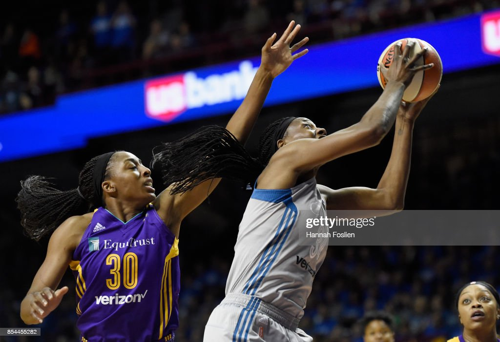 Sylvia Fowles #34 of the Minnesota Lynx shoots the ball against Nneka Ogwumike #30 of the Los Angeles Sparks during the first quarter of Game Two of the WNBA Finals on September 26, 2017 at Williams in Minneapolis, Minnesota. The Lynx defeated the Sparks 70-68.