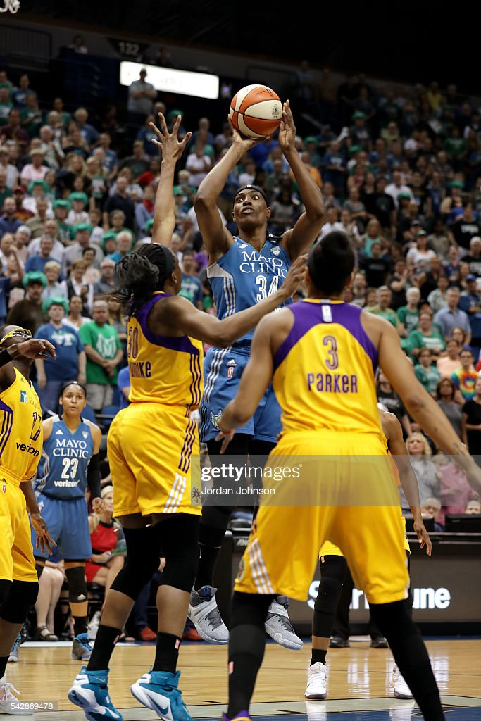 <a gi-track='captionPersonalityLinkClicked' href=/galleries/search?phrase=Sylvia+Fowles+-+Basketball+Player&family=editorial&specificpeople=707903 ng-click='$event.stopPropagation()'>Sylvia Fowles</a> #34 of the Minnesota Lynx shoots the ball during the game against the Los Angeles Sparks during the WNBA game on June 24, 2016 at Target Center in Minneapolis, Minnesota.