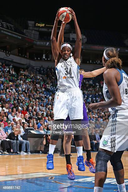 Sylvia Fowles of the Phoenix Mercury grabs a rebound against the Phoenix Mercury during Game One of the WNBA Western Conference Finals on September...