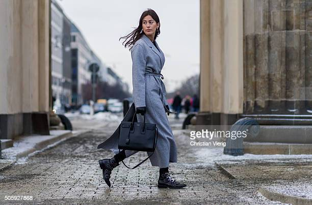 Sylvia Haghjoo wearing coat Marc Cain shoes Givenchy blouse Paul Joe jeans Adriano Goldschmied jewellery Georg Jensen bag Chloe outside Dorothee...