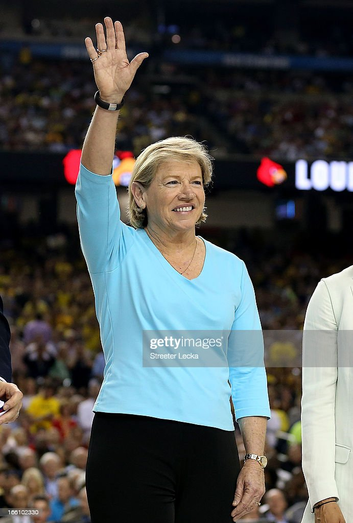Sylvia Hatchell stands on the court as the Naismith Memorial Basketball Hall of Fame 2013 Class Announcement is made during the 2013 NCAA Men's Final Four Championship between the Michigan Wolverines and the Louisville Cardinals at the Georgia Dome on April 8, 2013 in Atlanta, Georgia.