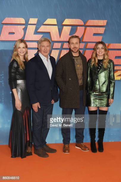 Sylvia Hoeks Harrison Ford Ryan Gosling and Ana de Armas attend the 'Blade Runner 2049' photocall at The Corinthia Hotel on September 21 2017 in...