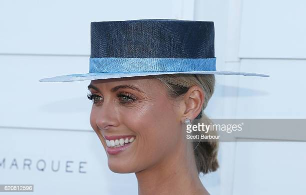 Sylvia Jeffreys arrives at the Myer on Oaks Day at Flemington Racecourse on November 3 2016 in Melbourne Australia