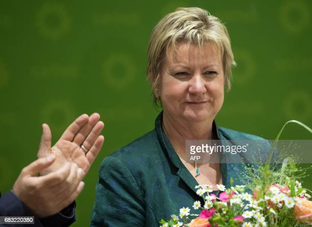 Sylvia Loehrmann the Greens' lead candidate in regional elections in the West German state of North RhineWestphalia is applauded during a press...