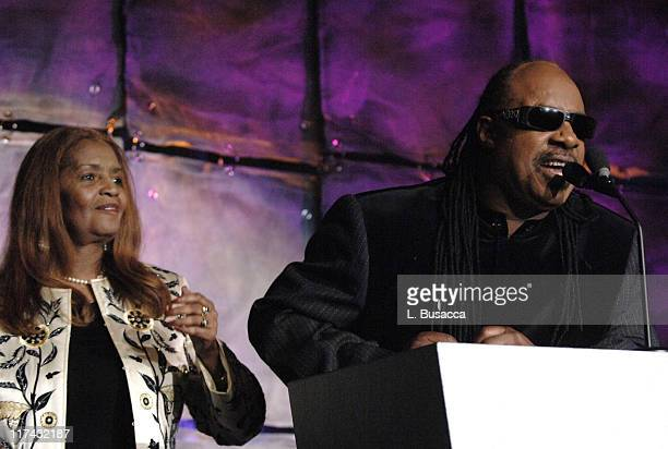 Sylvia Moy and Stevie Wonder during 37th Annual Songwriters Hall of Fame Ceremony Show and Dinner at Marriott Marquis in New York City New York...