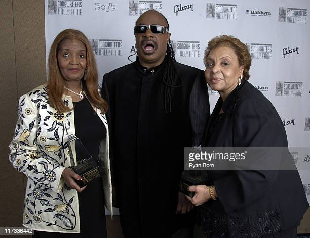 Sylvia Moy Stevie Wonder and Patricia Cosby during 37th Annual Songwriters Hall of Fame Ceremony VIP Cocktail Reception and Backstage at Marriott...