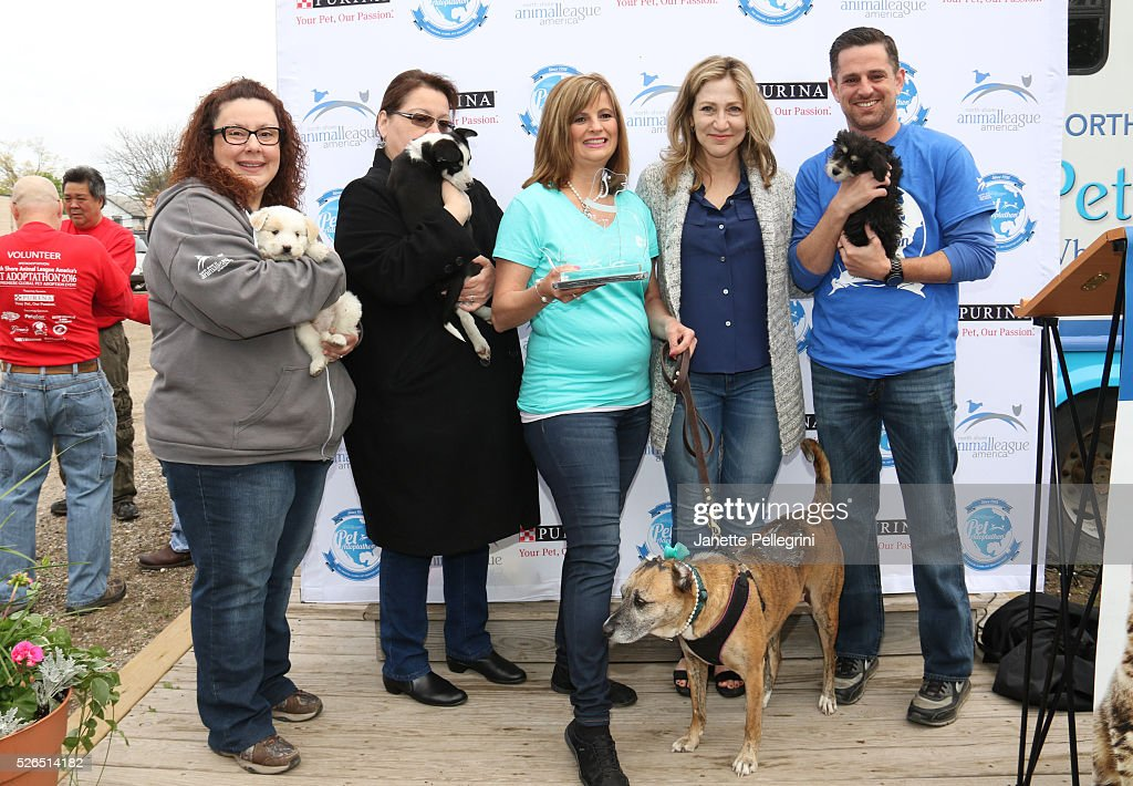 Sylvia Ottaka, Joanne Yohannan, Donna Lawrence with her rescue dog Susie, Edie Falco and Matt Carroll attend the 22nd Annual Global Pet Adoption Event at North Shore Animal League America on April 30, 2016 in Port Washington, New York.