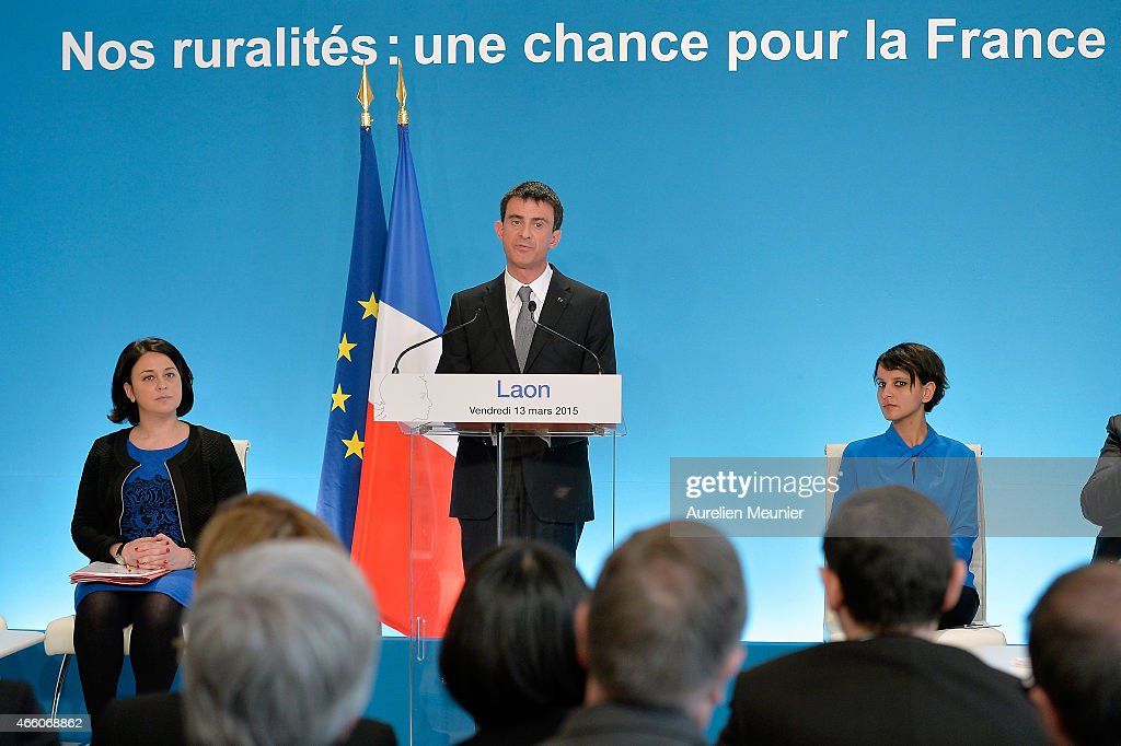 Sylvia Pinel French Minister of Housing, French Prime Minister Manuel Valls and Najat Vallaud-Belkacem, French Minister of National Education, Higher Education visit the prefecture of Aisne on March 13, 2015 in Laon, France. The purpose of the visit is to promote and highlight the rurality before the departmental elections next weekend.