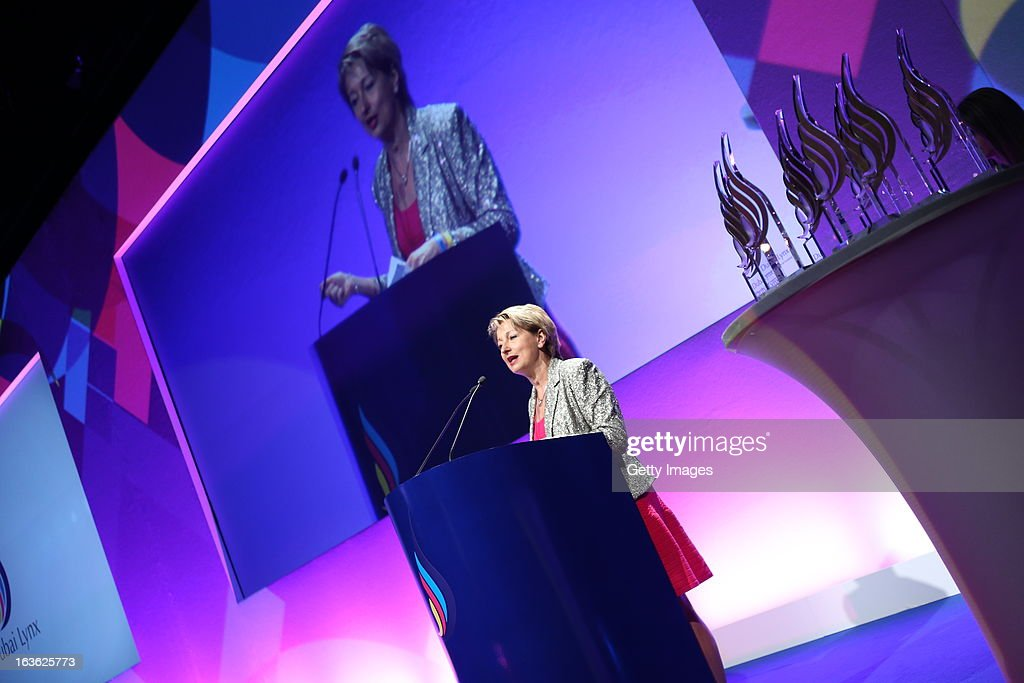 Sylvia Vitale Rotta, CEO, Team Creatif Group, Paris, gives a speech at the Dubai Lynx Awards, Madinat Jumeirah on March 13, 2013 in Dubai, United Arab Emirates.