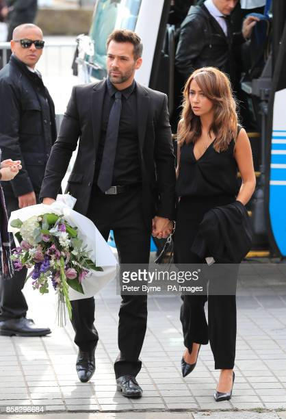 Sylvian and Samia Longchambon arriving at Salford Cathedral for the funeral service of Coronation Street actress Liz Dawn