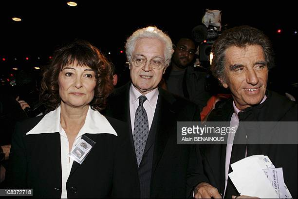Sylviane and Lionel Jospin Jack Lang in Paris France on February 14 2005