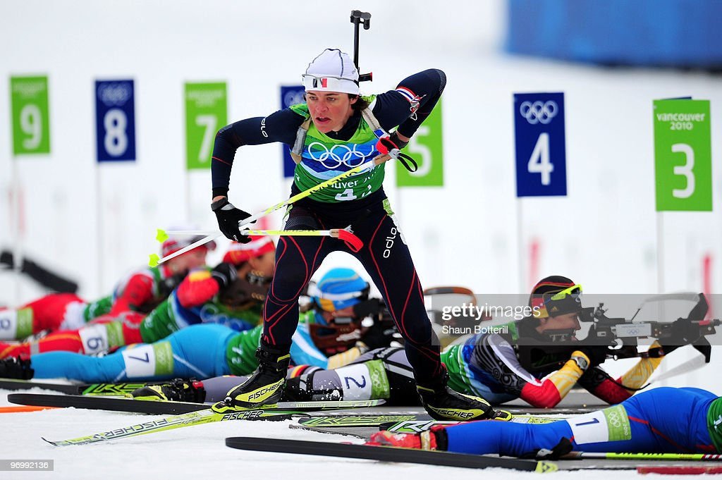 <a gi-track='captionPersonalityLinkClicked' href=/galleries/search?phrase=Sylvie+Becaert&family=editorial&specificpeople=767883 ng-click='$event.stopPropagation()'>Sylvie Becaert</a> of France gets back on ski after firing in the prone position during the women's biathlon 4 x 6km relay on day 12 of the 2010 Vancouver Winter Olympics at Whistler Olympic Park Cross-Country Stadium on February 23, 2010 in Whistler, Canada.