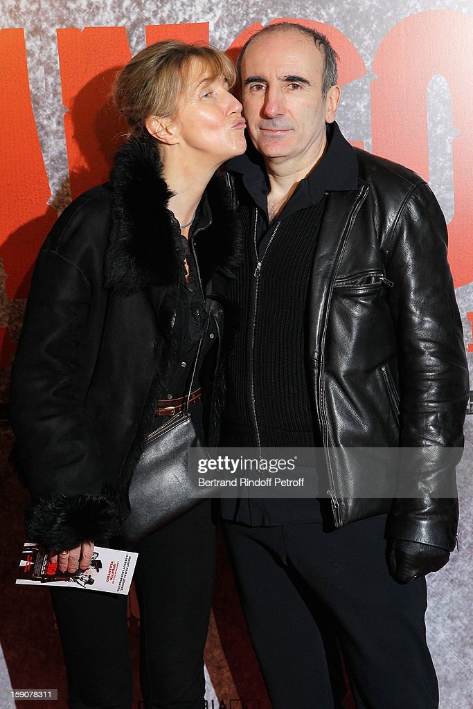 Sylvie Bourgeois (L) and Philippe Harel attend a photocall for 'Django Unchained' at Le Grand Rex on January 7, 2013 in Paris, France.