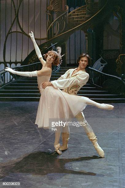 Sylvie Guillem and Charles Jude on the shooting of the ballet 'Cendrillon' in the studios of the SFP choreographed by Rudolf Noureev
