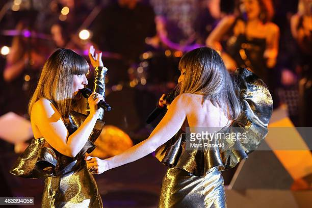Sylvie Hoarau and Aurelie Saada from Brigitte perform during the 30th 'Victoires de la Musique' French Music Awards Ceremony at le Zenith on February...