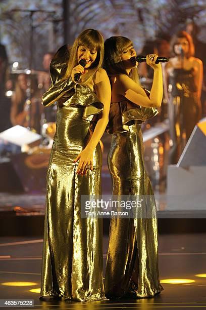 Sylvie Hoarau and Aurelie Saada of the Brigitte Band perform during Les Victoires De La Musique at Le Zenith on February 13 2015 in Paris France