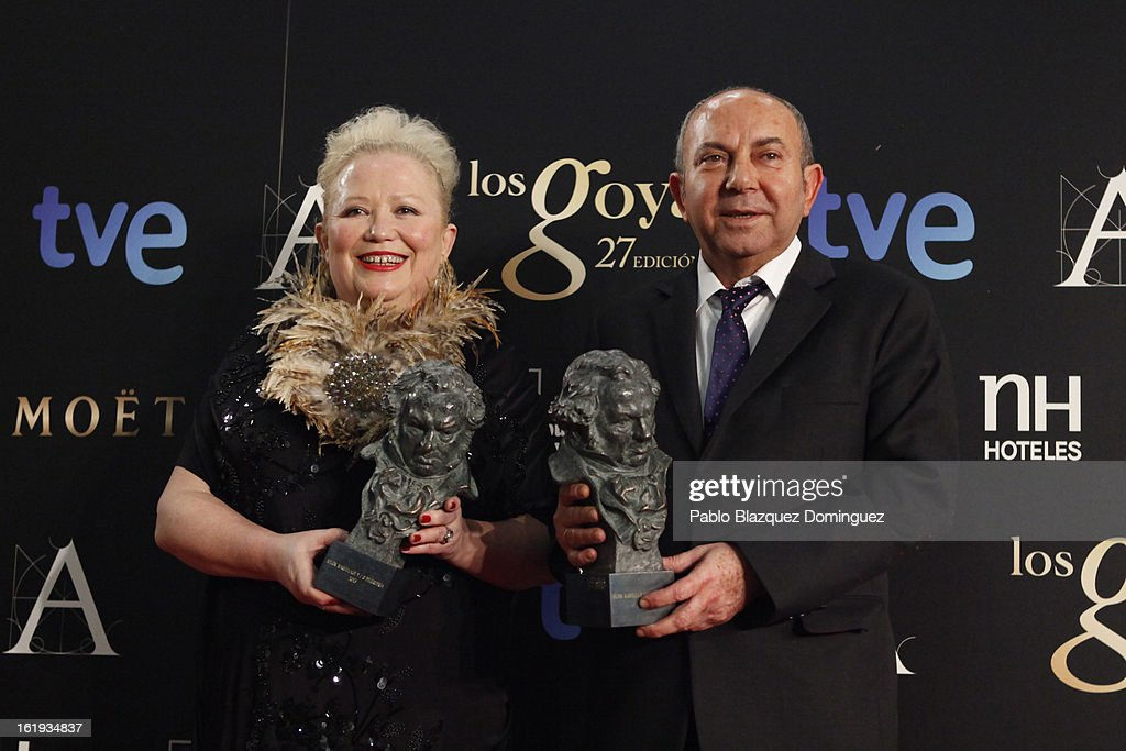 Sylvie Imbert and Fermin Galan hold the award for Best Make Up And Hairstyling in the film 'Blancanieves' during the 2013 edition of the 'Goya Cinema Awards' ceremony at Centro de Congresos Principe Felipe on February 17, 2013 in Madrid, Spain.