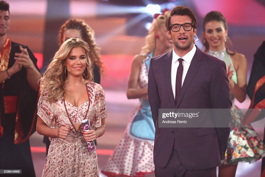 Sylvie Meis and <a gi-track='captionPersonalityLinkClicked' href=/galleries/search?phrase=Daniel+Hartwich&family=editorial&specificpeople=5494049 ng-click='$event.stopPropagation()'>Daniel Hartwich</a> are seen on stage at the 8th show of the television competition 'Let's Dance' on May 6, 2016 in Cologne, Germany.