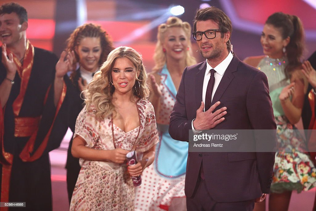 Sylvie Meis and Daniel Hartwich are seen on stage at the 8th show of the television competition 'Let's Dance' on May 6, 2016 in Cologne, Germany.