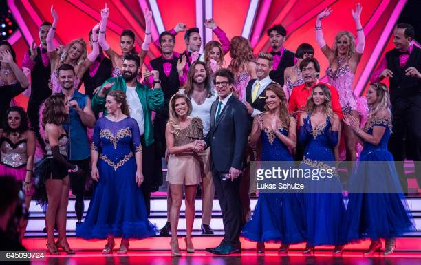 Sylvie Meis and Daniel Hartwig on stage prior to the preshow 'Wer tanzt mit wem Die grosse Kennenlernshow' for the television competition 'Let's...