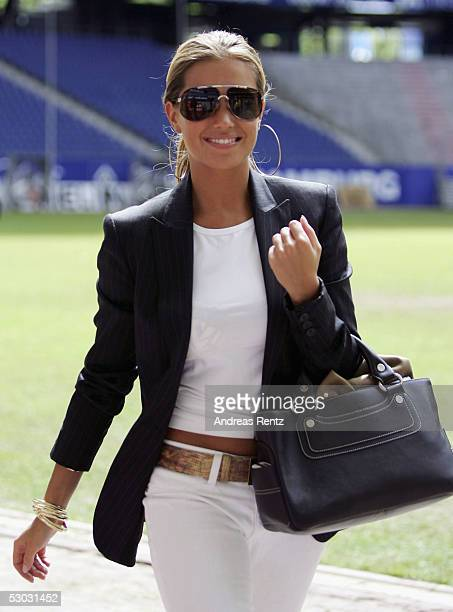 Sylvie Meis girlfriend of Rafael Van der Vaart smiles during the Press Conference of Hamburg SV to announce the new signing on June 7 2005 in Hamburg...