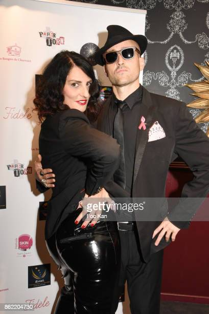 Sylvie Ortega Munos and designer Nacho Jewels attend the 'Souffle de Violette' Auction Party As part of 'Octobre Rose' Hosted by Ereel at Fidele Club...