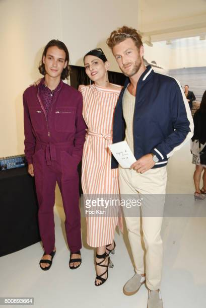 Sylvie Ortega Munos and models dressed by Agnes BÊattend Agnes B Menswear Spring/Summer 2018 show as part of Paris Fashion Week ton June 25 2017 in...