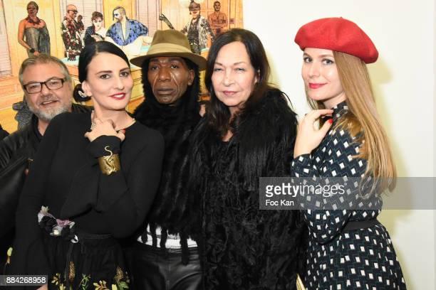 Sylvie Ortega Munos Christine Mingo Dexter Dex Tao and Sarah Paris Frivole attend Lenedy Angot Calendar 2018 launch at Galerie Fabrice Hybert on...