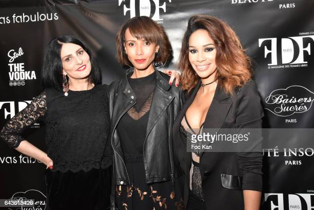 Sylvie Ortega Munos Sonia Rolland and Alicia Fall attend FDF Magazine Launch Party at Hotel Christian Dior on February 21 2017 in Paris France