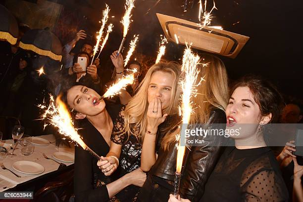 Sylvie Ortega Munoz Julie Jardon a guest and Wendy Vettor attend Julie Jardon 22 years Anniversary Party at Club des Princesses on November 26 2016...