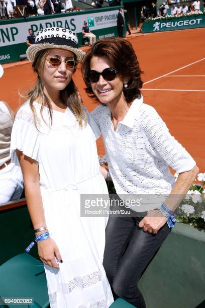 Sylvie Rousseau and her daughter Constance Ayache attend the Men Final of the 2017 French Tennis Open Day Fithteen at Roland Garros on June 11 2017...