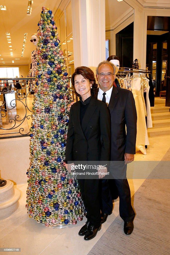 Sylvie Rousseau and Professor David Khayat attend the 19th Edition of 'Les Sapins de Noel des Createurs Designer's Christmas Trees Press Preview Held...