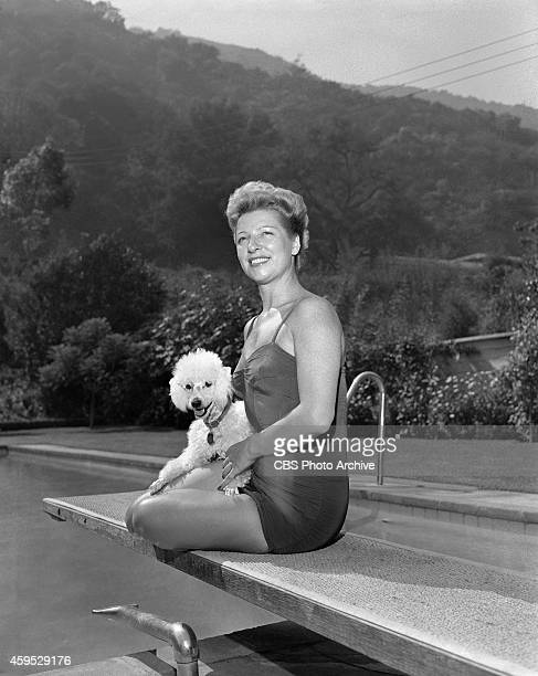 Sylvie St Clair with her dog at her Hollywood California home Image dated August 7 1952