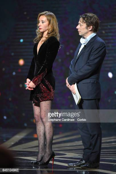 Sylvie Testud and Mathieu Amalric during the Cesar Film Awards 2017 ceremony at Salle Pleyel on February 24 2017 in Paris France