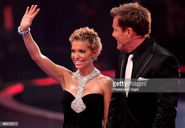 Sylvie van der Vaart and Dieter Bohlen pose during the contest 'DSDS Deutschland Sucht Den Superstar' final show on April 17 2010 in Cologne Germany
