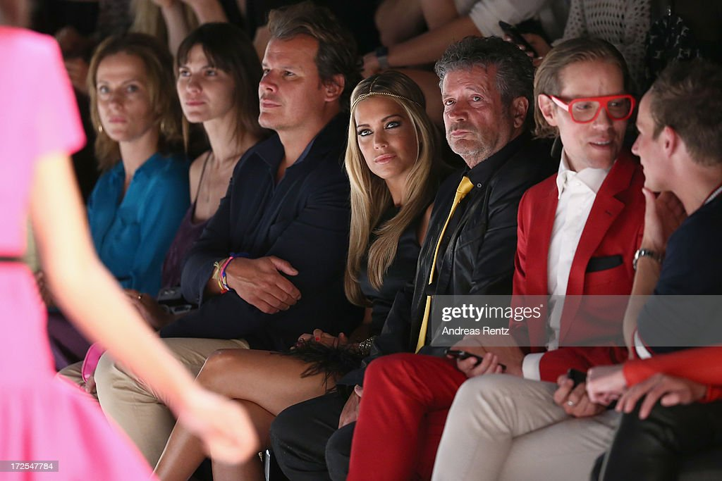Sylvie van der Vaart (C) attends the Dimitri show during the Mercedes-Benz Fashion Week Spring/Summer 2014 at the Brandenburg Gate on July 3, 2013 in Berlin, Germany.