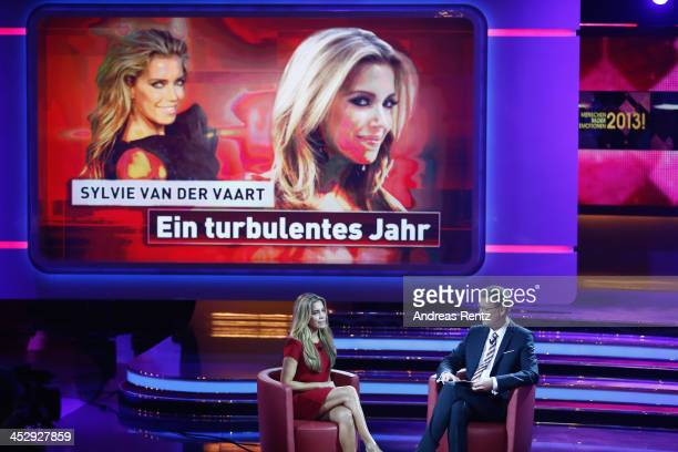Sylvie van der Vaart chats with TV host Guenther Jauch during the '2013 Menschen Bilder Emotionen' RTLJahresrueckblick on December 1 2013 in Huerth...