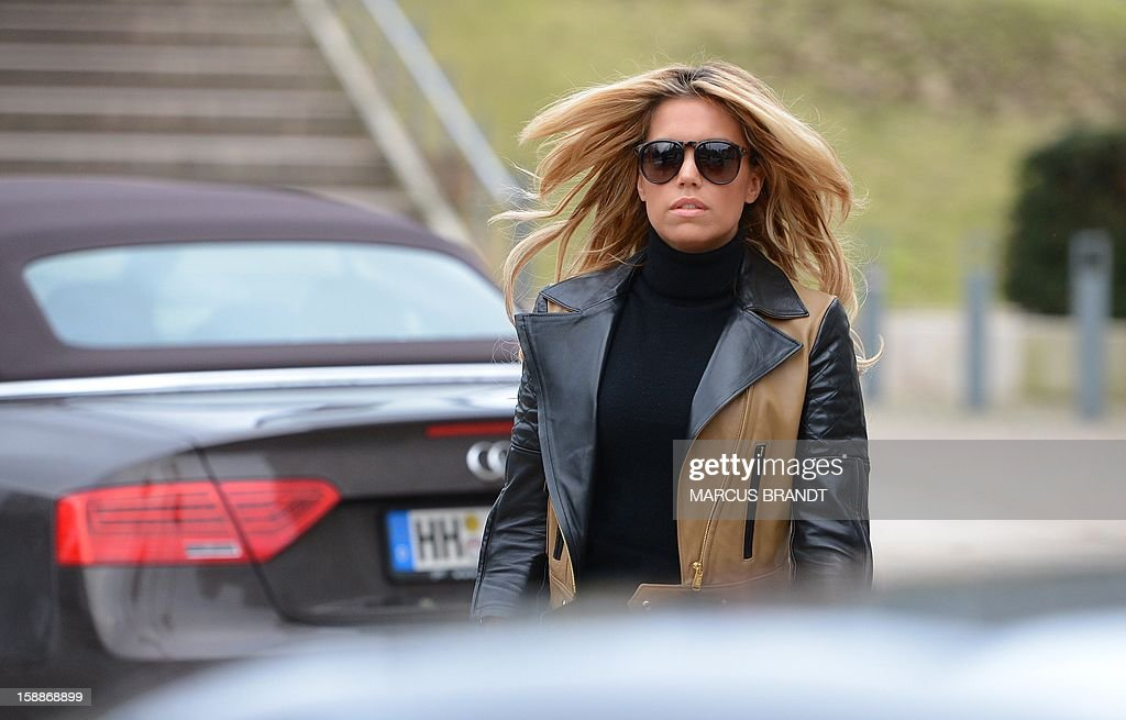 Sylvie van der Vaart, wife of Dutch professional football player van der Vaart, leaves a restaurant in Hamburg, northern Germany, on January 2, 2013. According to report published in the newspaper 'Bild' the married couple van der Vaart have split up.