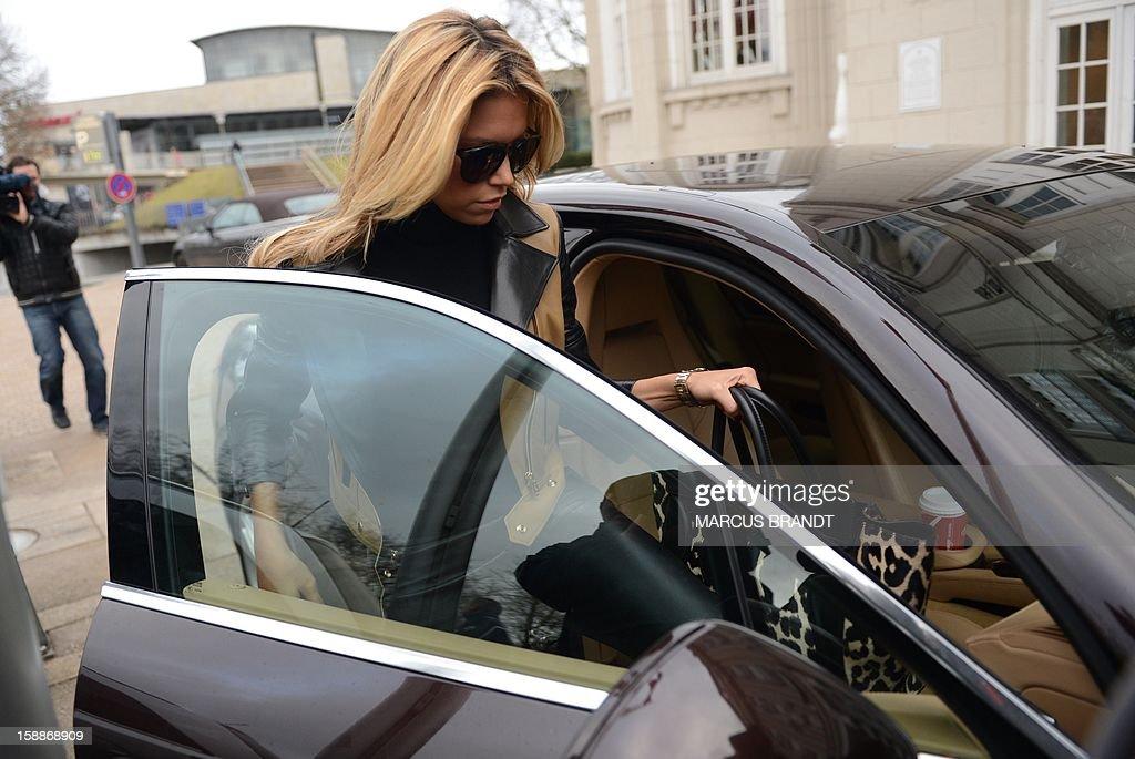 Sylvie van der Vaart, wife of Dutch professional football player van der Vaart, leaves a restaurant in Hamburg, northern Germany, on January 2, 2013. According to report published in the newspaper 'Bild' the married couple van der Vaart have split up. AFP PHOTO / MARCUS BRANDT /GERMANY OUT