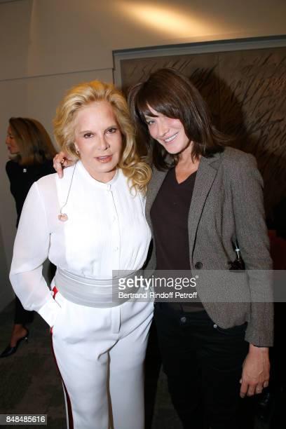 Sylvie Vartan and Carla BruniSarkozy attend Sylvie Vartan performs at L'Olympia on September 15 2017 in Paris France