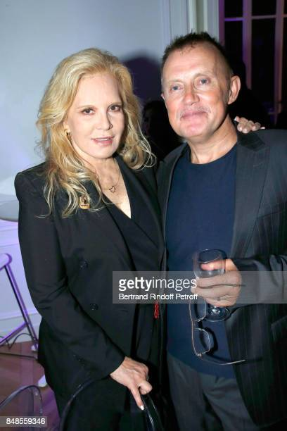 Sylvie Vartan and photographer Philippe Quaisse attend the Dinner after Sylvie Vartan performed at L'Olympia on September 16 2017 in Paris France