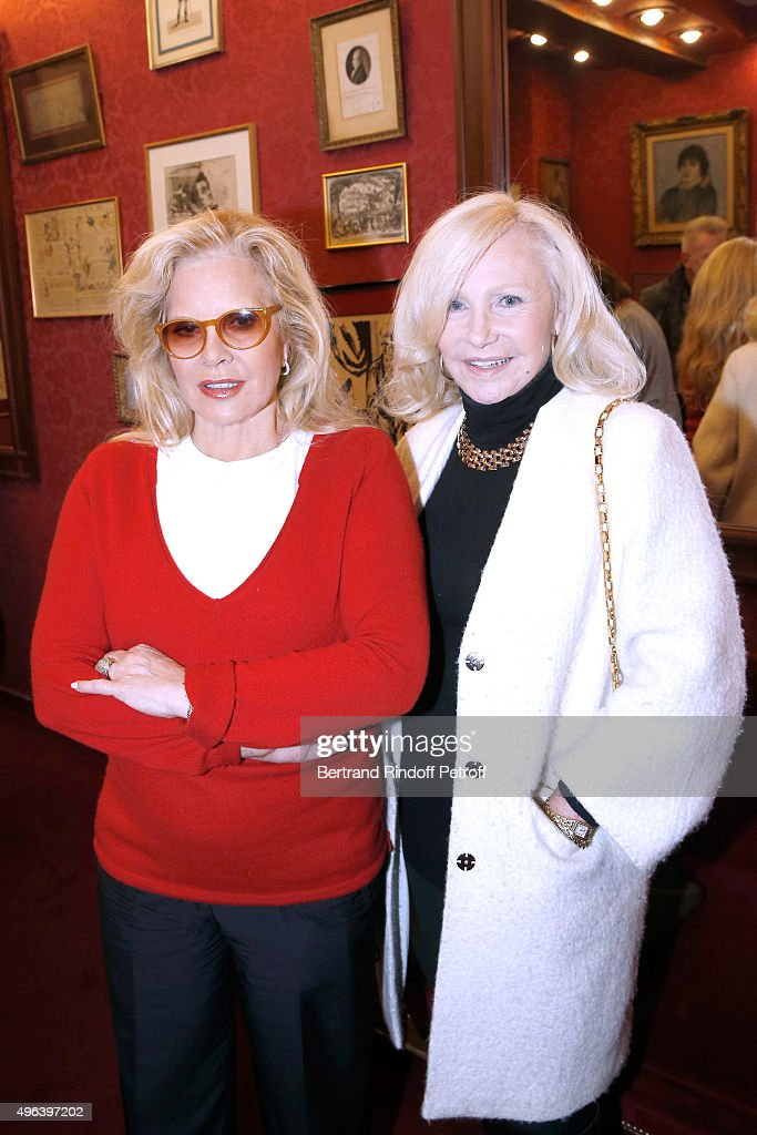 Sylvie Vartan and Singer Michele Torr attend Sylvie Vartan triumphs in the Theater Play 'Ne me regardez pas comme ca !', performed at 'Theatre Des Varietes' on October 16, 2015 in Paris, France.