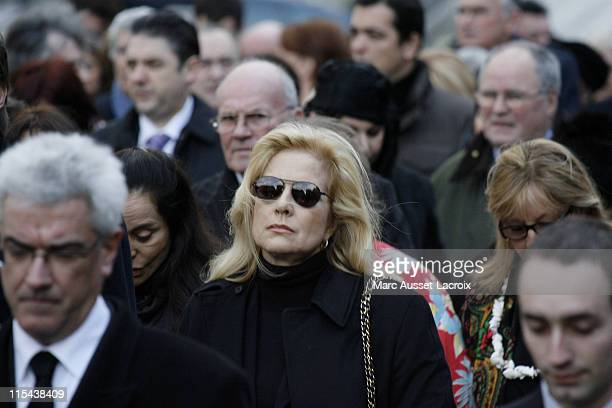 Sylvie Vartan arrives at the St Germain church before the funeral mass of French singer Carlos on January 22 2008 in Paris France