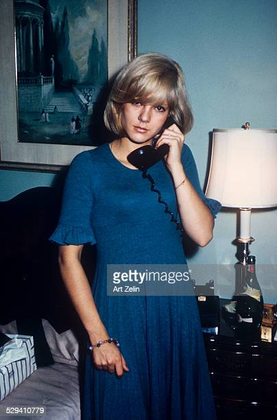 Sylvie Vartan as a teenager taken in a hotel room She is talking on the phone circa 1970 New York