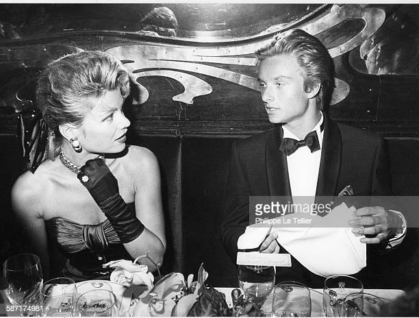 Sylvie Vartan celebrates twenty years of songs in Maxim's restaurant here David Hallyday And Karen Cheryl Paris France 1984