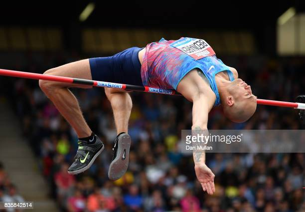 Sylwester Bednarek of Poland competes in the Mens High Jump during the Muller Grand Prix Birmingham meeting on August 20 2017 in Birmingham United...